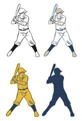 Illustration of baseball player, Vector
