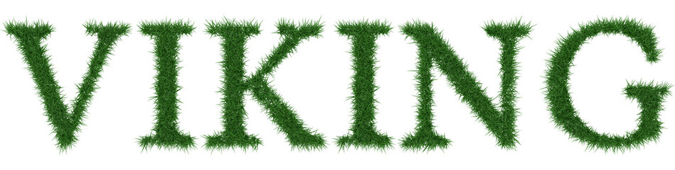 Viking - 3D rendering fresh Grass letters isolated on whhite background.