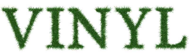 Vinyl - 3D rendering fresh Grass letters isolated on whhite background.