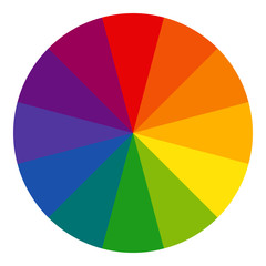 12 sectioned RYB (red, yellow, blue; used by artists) color wheel in radial form. The complementary colors are opposite each other. Vector graphic on isolated background.