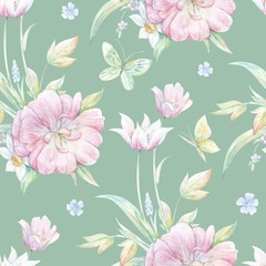 Seamless pattern with pink tulip 2