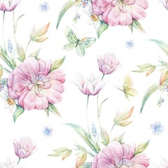 Seamless pattern with pink tulip 1