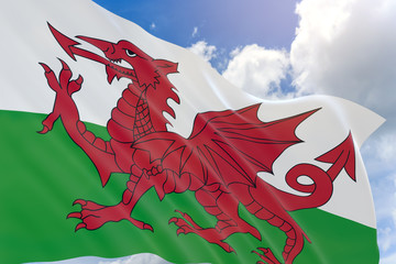 3D rendering of Wales flag waving on blue sky background