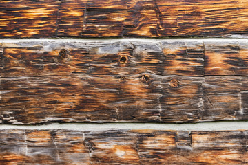 Weathered, scratched and aged barn wood in closeup detail