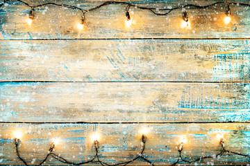 Christmas Lights Bulb On Wood Table Merry Xmas
