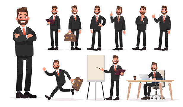 Happy businessman. A character set of an office worker man in various poses and situations