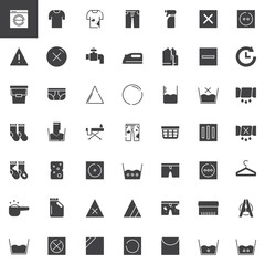 Laundry and dry cleaning vector icons set, modern solid symbol collection, filled pictogram pack. Signs, logo illustration. Set includes icons as washing machine, laundry bucket, iron, hanger