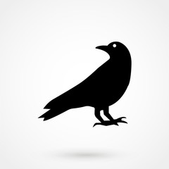 Crow icon silhouette vector illustration