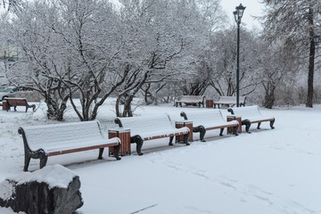 In the city park benches covered with snow.