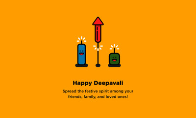 Happy Deepavali. Spread the festive spirit among your friends, family, and loved ones! (Line Art in Flat Style Vector Illustration Icon Design)