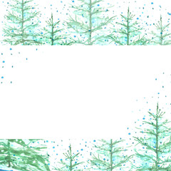 Watercolor New Year's Christmas card, tag with forest landscape, trees fir, pine, cedar, snowfall, snowdrifts. Green and blue Colour. With a place for your inscription and design