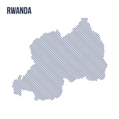 Vector abstract wave map of Rwanda isolated on a white background.