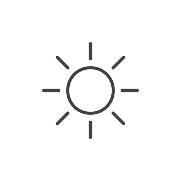 Sun line icon, outline vector sign, linear style pictogram isolated on white. Symbol, logo illustration. Editable stroke