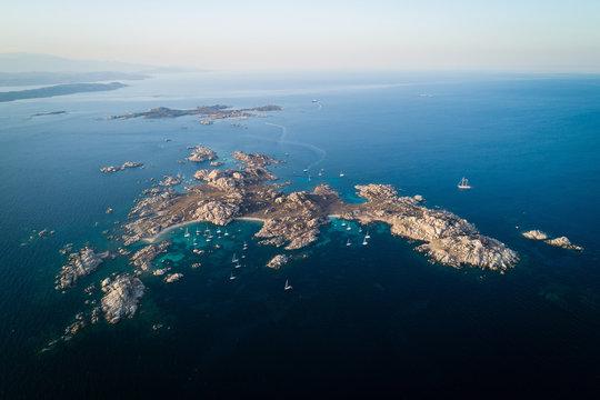 Aerial view of Lavezzi island near Corsica island, France
