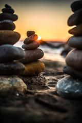 rock stack sunset