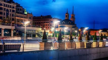 Kiev or Kiyv, Ukraine: night view of the city center in the summer