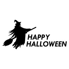 Silhouette of witch on a broomstick on Halloween