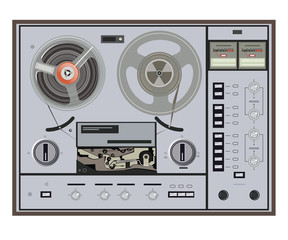 vector illustration of retro tape recorder