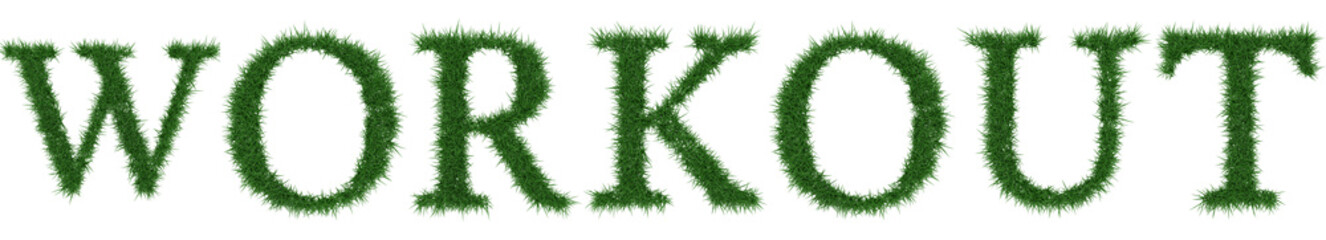 Workout - 3D rendering fresh Grass letters isolated on whhite background.