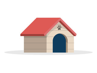 Dog house Flat Vector Illustration