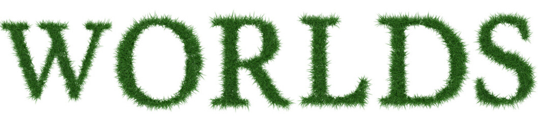 Worlds - 3D rendering fresh Grass letters isolated on whhite background.