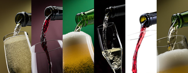 Pouring alcoholic drinks in glasses photo collage