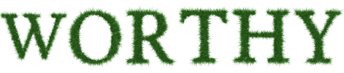 Worthy - 3D rendering fresh Grass letters isolated on whhite background.