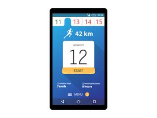 Running App Concept Fitness tracker app graphic user interface Vector