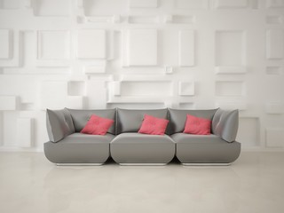 Mock up a hi-tech living room with a stylish modern sofa on a trendy background.
