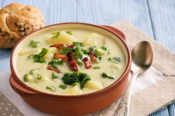 Potato soup with broccoli, cheese and bacon.