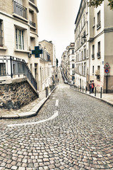 HDR view of the street of Montmartre.
