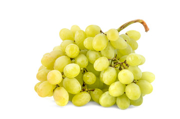 Green grape. Bunch with ripe berries of grapes on a white background.
