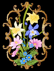 Summer flowers: poppy, daffodil, anemone, violet, in botanical style with vintage rococo frame for text on black background. Stock line vector illustration.