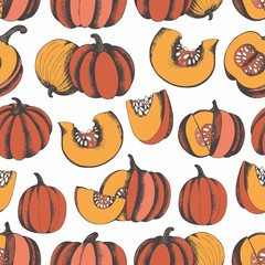 Pumpkins. Hand drawing. Vector seamless pattern for design and decoration
