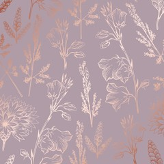 Rose gold. Elegant decorative floral pattern for printing