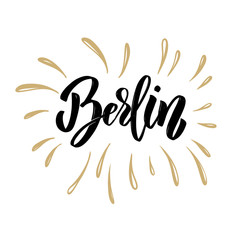 Berlin. Hand drawn lettering on white background. Design element for poster, card.