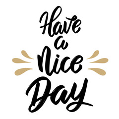 Have a nice day. Hand drawn lettering isolated on white background.