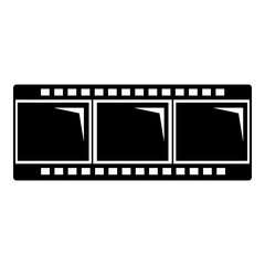 Film strip icon, simple black style