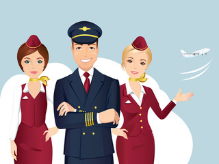 Pilot and Flight attendant of Commercial Airlines with the airplane on the background. / Flat design, vector cartoon.