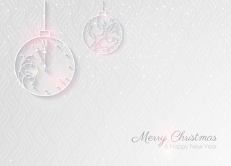 2018 white sparkling background.  Happy new year greeting card with clock and christmas baubles. Elegant Christmas silver background with Silver glitter balls.  Vector illustration.