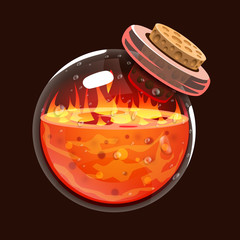 Bottle of fire. Game icon of magic elixir. Interface for rpg or match3 game. Fire, energy, lava, flame