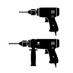 Black drill vector icons on white background