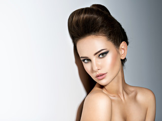 Young beautiful  woman with stylish hairstyle