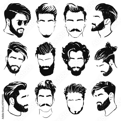 """""""vector illustration of men hairstyle silhouettes"""" Stock ... Men Hair Clipart"""