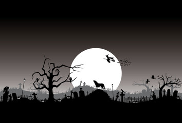 Halloween banner, Silhouette of flying witch, Vector Illustration
