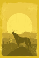 Silhouette of wolf howling, Vector