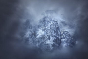 Moody weather around mountain peaks in Tyrol