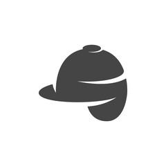 Jockey helmet icon. Vector logo on white background