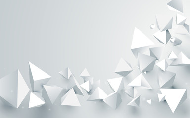 Wall Mural - Abstract white 3d pyramids chaotic background. Vector illustration