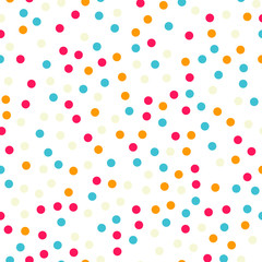 Colorful polka dots seamless pattern on black 18 background. Good-looking classic colorful polka dots textile pattern. Seamless scattered confetti fall chaotic decor. Abstract vector illustration.